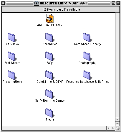 Screengrab of a OS9 Finder window displaying the contents of CD 1 of the Apple Sales & Marketing Resource Library January 1999 edition.