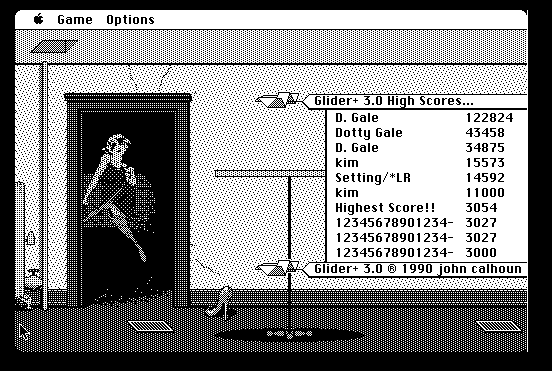 Screenshot of Glider 3.0 title screen, emulated in-browser at Internet Archive