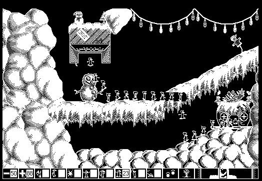 Screengrab of gameplay of Xmas Lemmings demo on Macintosh