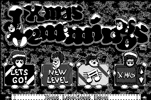 Screengrab of the title screen for Xmas Lemmings for Macintosh.
