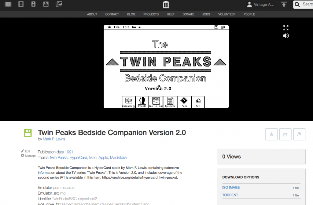 Screengrab of the Twin Peaks Bedside Companion HyperCard Stack emulated in-browser at the Internet Archive