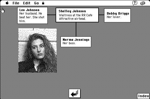 Screengrab of character bio in the Twin Peaks Bedside Companion HyperCard stack