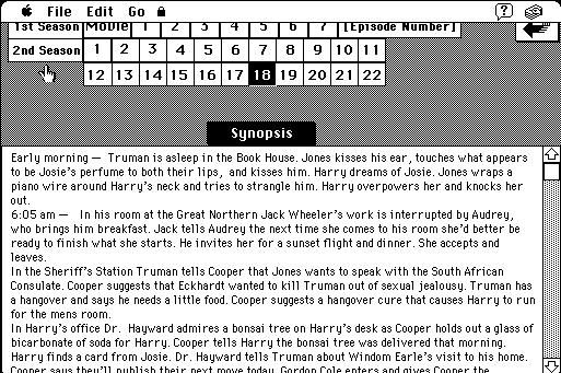 Screengrab of episode breakdown in the Twin Peaks Bedside Companion HyperCard stack